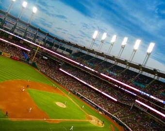 Indians Baseball, Baseball Decor, MLB Photography, Progressive Field Photo, Photo by Abby Smith, American Tradition, Night Game, Cleveland
