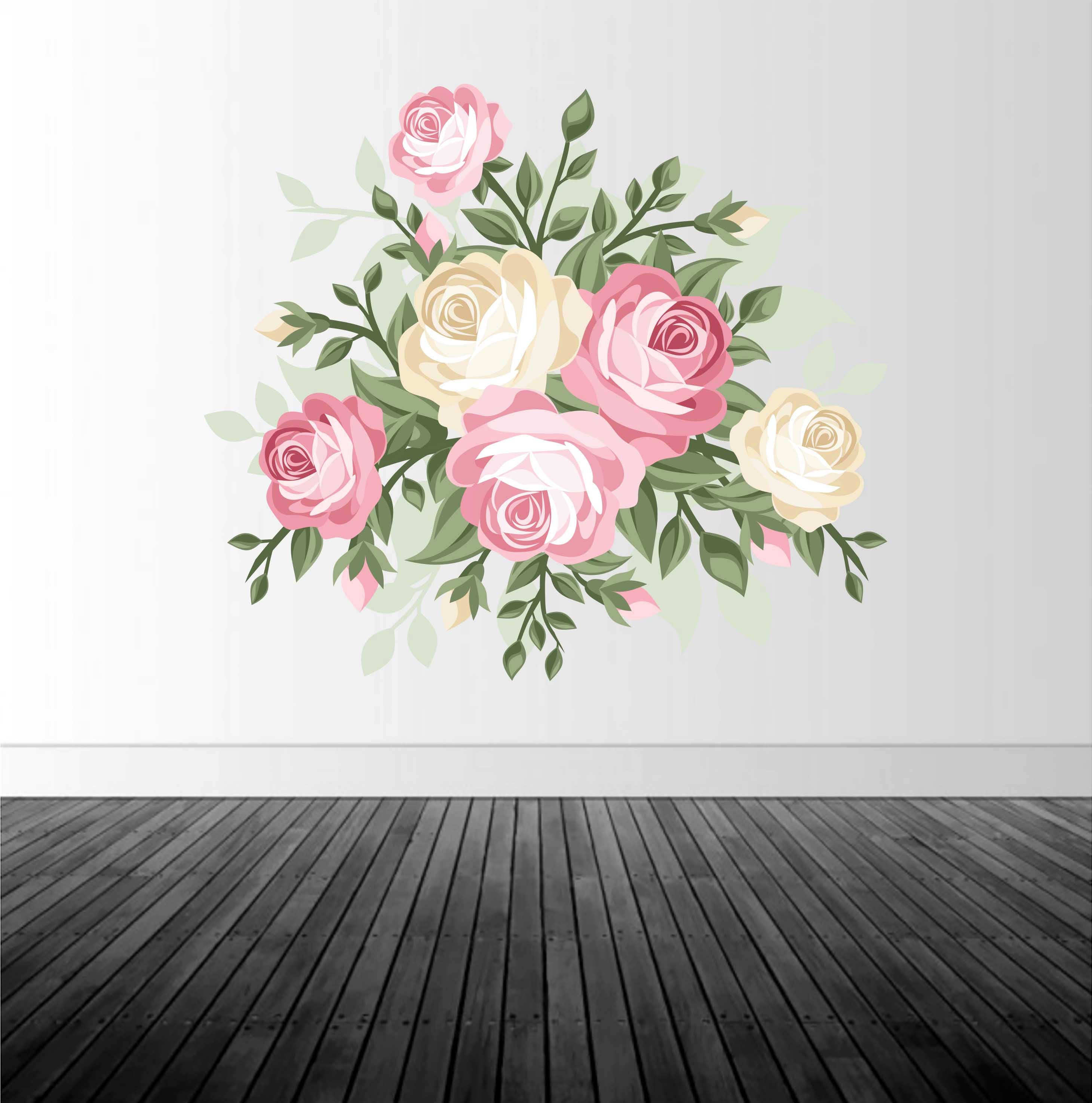 Floral Wall Decal Rose Vinyl Decal Roses Home Decor Rose Decor