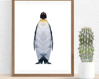 Penguin Polygonal Art, Abstract Print, Penguin Art, Symmetric Design, Modern Art, Infinite Graphics, Design by Abby Smith, Geometric Art