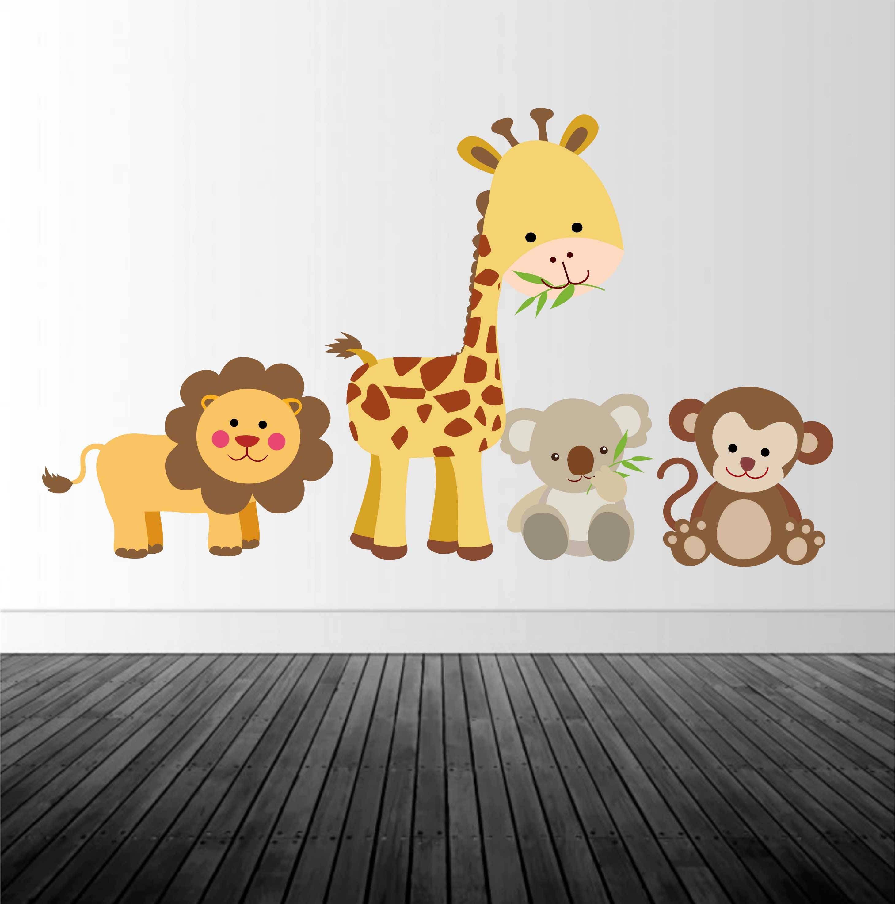 jungle animal wall decal nursery wall decal animal wall decal