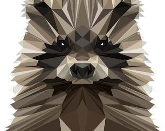 Raccoon Print, Polygonal Art, Abstract Print, Raccoon Art, Symmetric Design, Modern Art, Infinite Graphics, Design by Abby Smith, Geometric