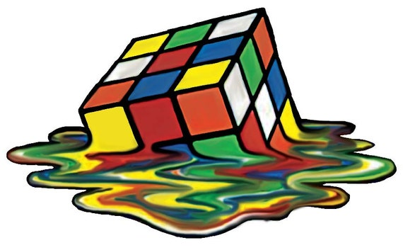 Rubik S Cube Wall Decal Melting Rubik S Cube Decal Etsy