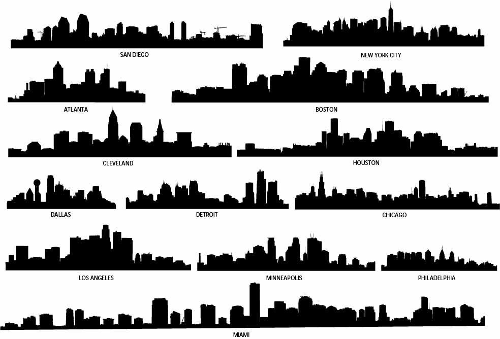 City Skyline Decal Skyline Silhouette Vinyl Wall Decals