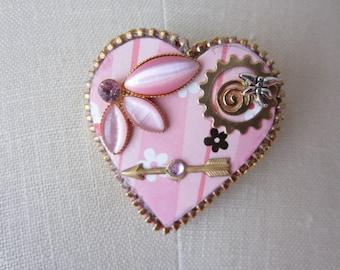 Petal Pink Heart Brooch