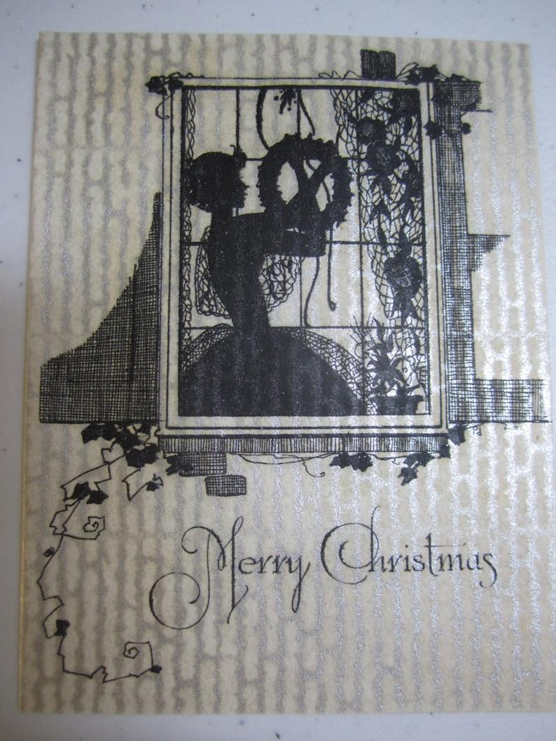 Gorgeous Unused Art Deco Christmas Card On Parchment Etsy
