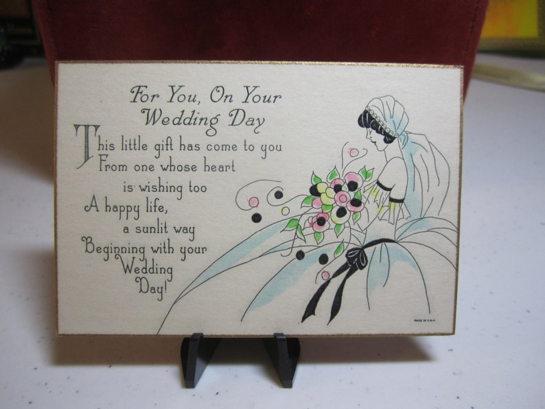 Beautiful 1920/'s-30/'s art deco hand colored gold gilded wedding gift card profile of bride in her wedding dress and veil holding bouquet