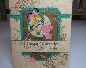 Art deco 1931 Little's gold gilded hand colored parchment paper wife birthday card chubby birds sit on branch,full moon,deco flowers