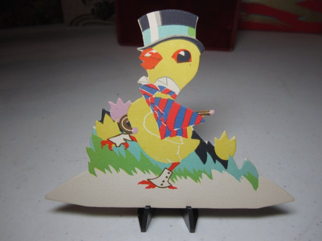 Unused art deco 1920's-30's gold gilded die cut Buzza easter place card baby chick dressed up in top hat cane,spats,striped deco coat,tulips