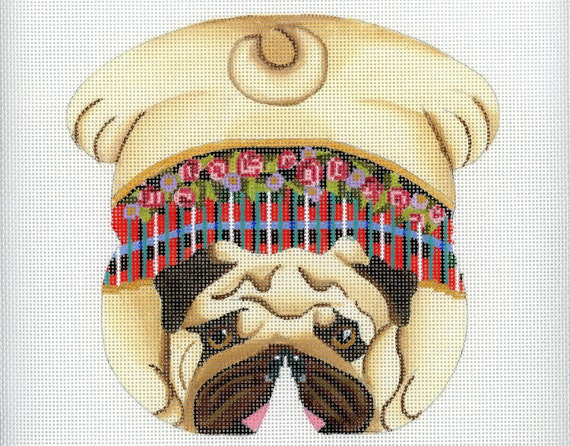 Miraculous Needlepoint Handpainted Dog Canvas Pug Beanbag Machost Co Dining Chair Design Ideas Machostcouk