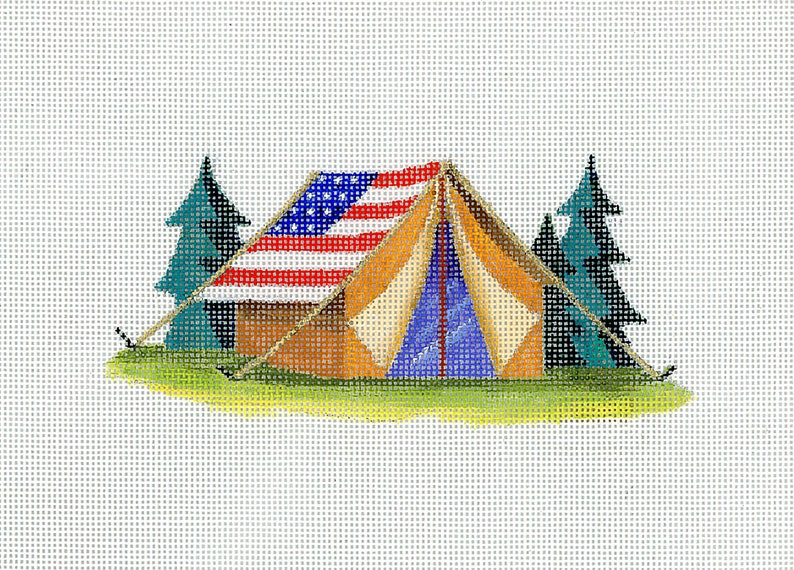 Needlepoint Camping Tent in American Flag Colors  Patriotic Needlepoint  Red White Tan and Green  18 mesh Blue