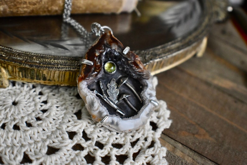Woodland Forest Sterling Silver Geode and Peridot Pendant OOAK