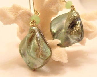 Green Tranquility Mother of Pearl Shell Beads w/ Light Green Crystal Dangle Earrings