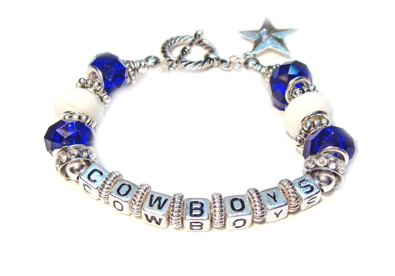 dallas cowboys alphabet bracelet with silver star charm. Black Bedroom Furniture Sets. Home Design Ideas