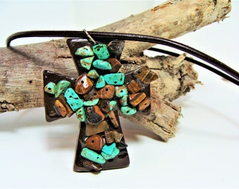 Turquoise and Brown Chips  Beaded Resin Cross Necklace on Brown Leather Cording