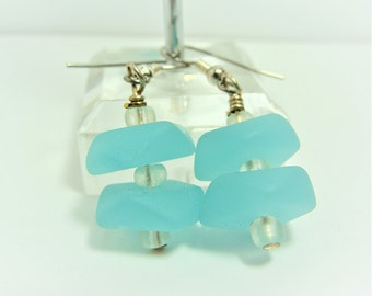 Aqua Blue Sea Glass Earrings with Opaque Glass Accent Beads