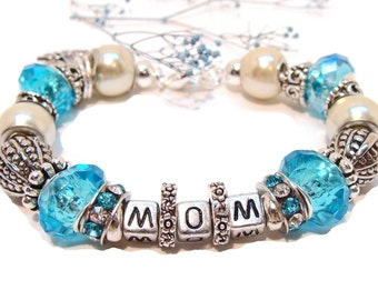 """Special """"MOM"""" Aqua Charm Bracelet with Euro Style Beads and Crystals"""