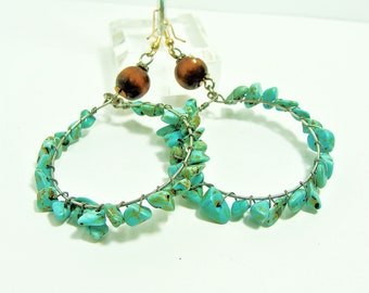 Turquoise Chips Wire Wrapped on Hoop Earrings with Wood Accents