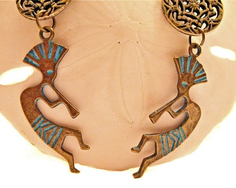 Antique Gold Native American Kokopelli Flute Player Charm Earrings with Antique Gold Metallic Filigree Discs