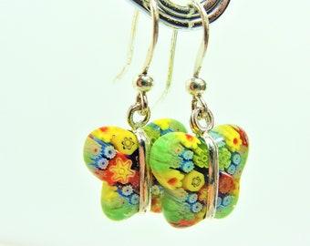 Millefiori Milano Glass Butterfly Earrings