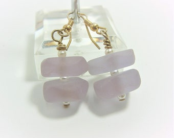Lavender Sea Glass Earrings with White Pearl Accent Beads