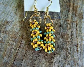 Handmade Beaded Sunflower Daisy Stitch Earrings