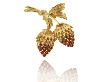 Vintage Gold and Ruby Strawberry Brooch