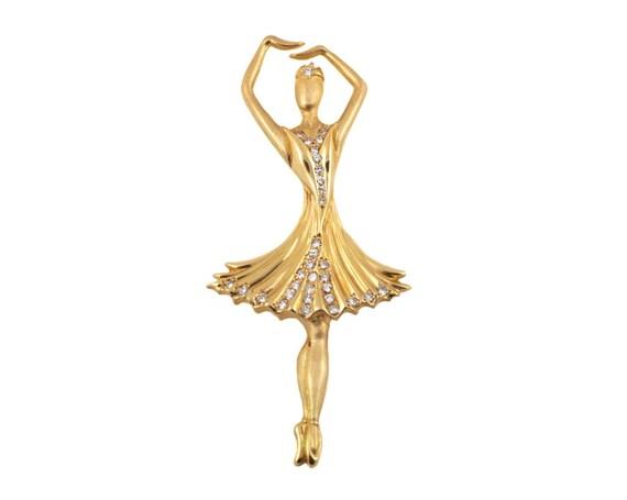 Vintage Solid Gold Ballerina Brooch / Pin (#P-116)