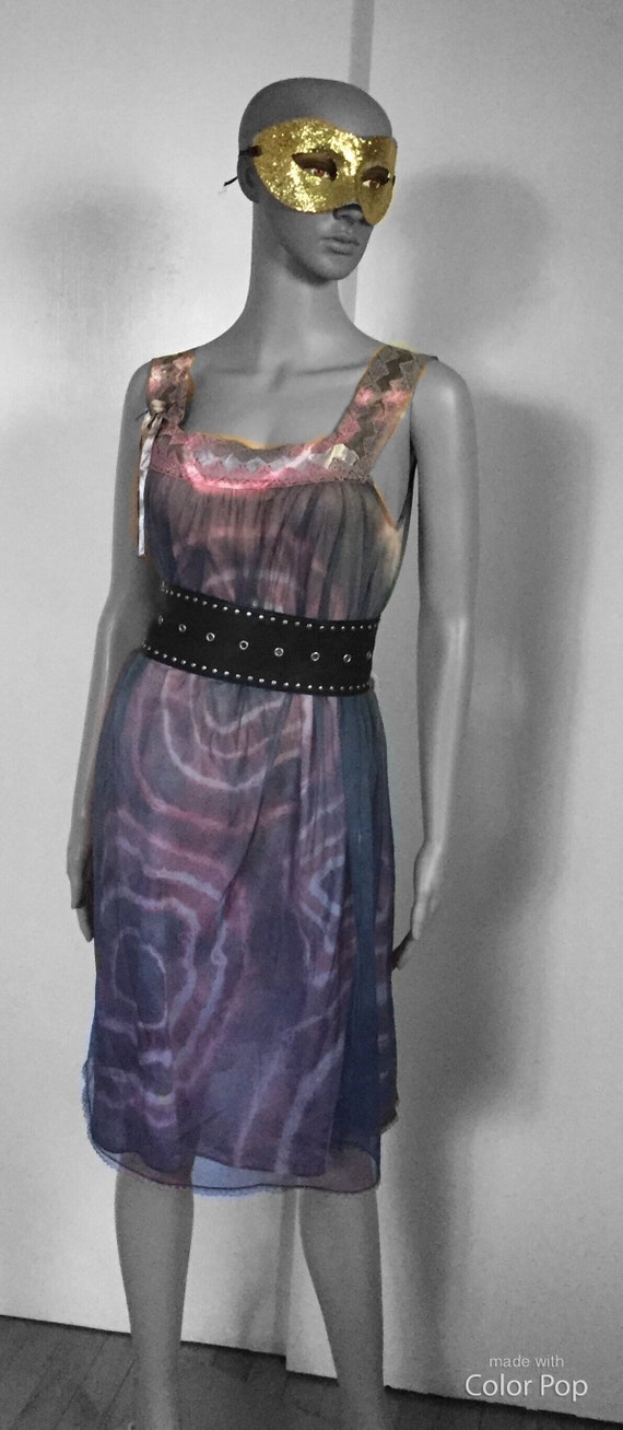 Vintage Nightgown Dress Tie Dye Greys and Pinks