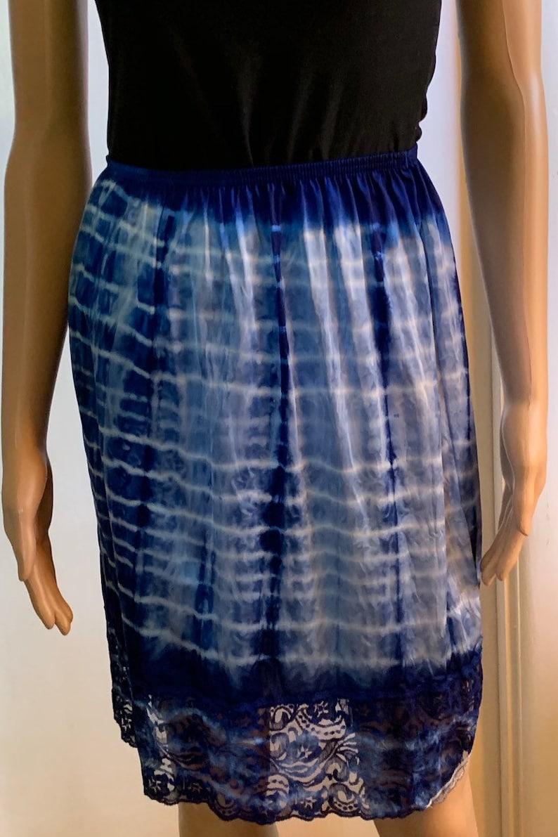 Vintage Repurposed Vanity Fair Slip Skirt Tie Dyed Blue with Side Slit