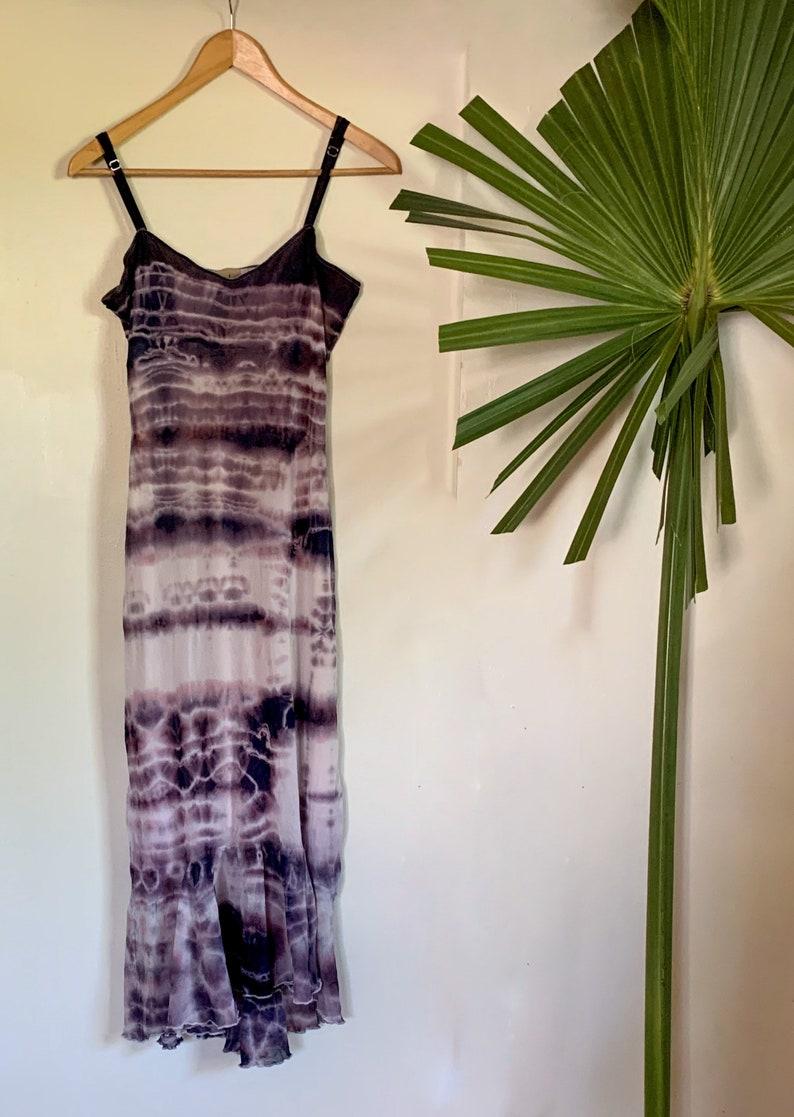 Vintage Purple Tie Dye Dress Slip Style