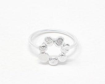 river stone ring double ring skinny ring nature ring Silver pebble ring organic ring