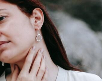 Circle rocks earrings - Sterling Silver - dangle earrings
