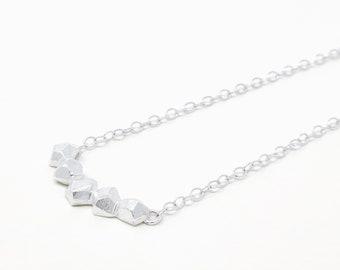 Rocks necklace - short necklace - Simple silver necklace