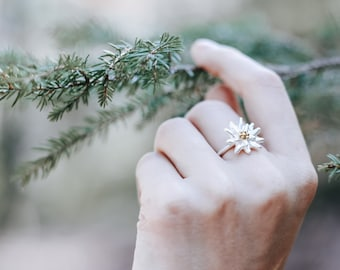 Edelweiss ring - sterling silver ring - flower ring
