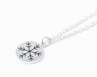 Snowflake necklace - snow silver necklace - Simple silver necklace