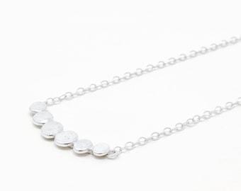 Pebbles necklace - circle necklace - Simple silver necklace