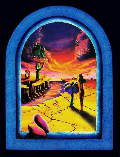 Psychedelic Uv Blacklight Poster Trippy Art Surreal Sunset
