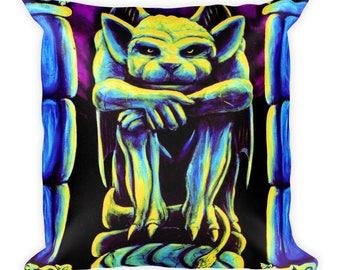 Gothic Gargoyle Square Pillow by Vincent Monaco