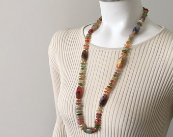 Vintage 1970s Polished Agate Look Necklace Autumn Colors Green Gold Rust Purple