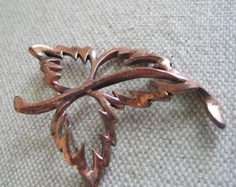 Vintage 1950s Modernist Mid Century Copper Leaf Pin