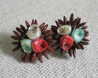 Vintage 1960s Brown Seed and Coral Aqua Sea Shell Earrings