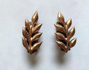 Vintage 1950s Matisse Copper Leaf Frond Laurel Earrings