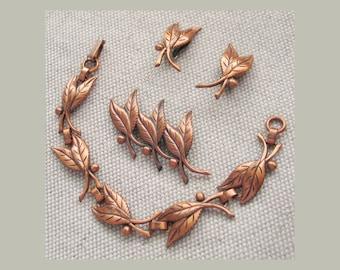 Vintage 1960s 3 pc Leaf Leaves Demi Parure Bracelet Pin Earrings Copper