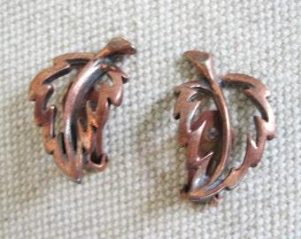 Vintage Mid Century Copper Leaf Leaves Earrings