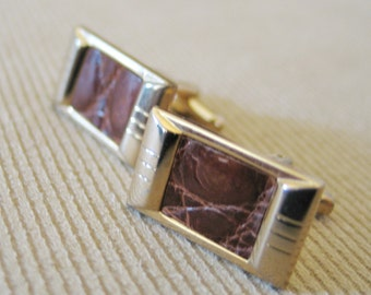 Vintage 1940s 1950s Brown Reptile Leather Cuff Links by Hickok