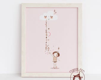 Little Acts of Love fall from Sky - Nursery Decor - Baby Girl wall art- Magical wall art- baby Moon Stars - cute little girl and stars pink