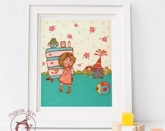 Nina -Nursery Decor wall art -Baby Girl decor print- Blonde hair girl & toys - Girl and Dolls -Baby shower gift - Cute First Birthday gift
