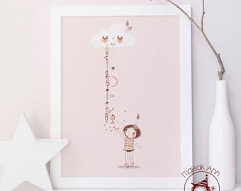 Little Acts of Love fall from Sky - Poster- Nursery Decor - Baby Girl wall art- Magical art- Pink Moon Cloud Stars - little girl and stars