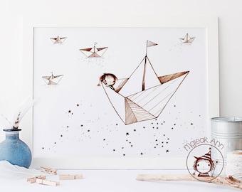 Where is Home? - Paper boats -Nursery Decor wall art -baby decor wall art - sea and stars - cute whimsical baby boy sailing