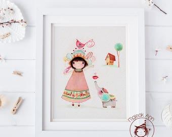 Små ting -Nursery Decor wall art -Baby Girl decor print- Little Brown hair girl & elephant - Baby shower gift - Cute art -First Birthday